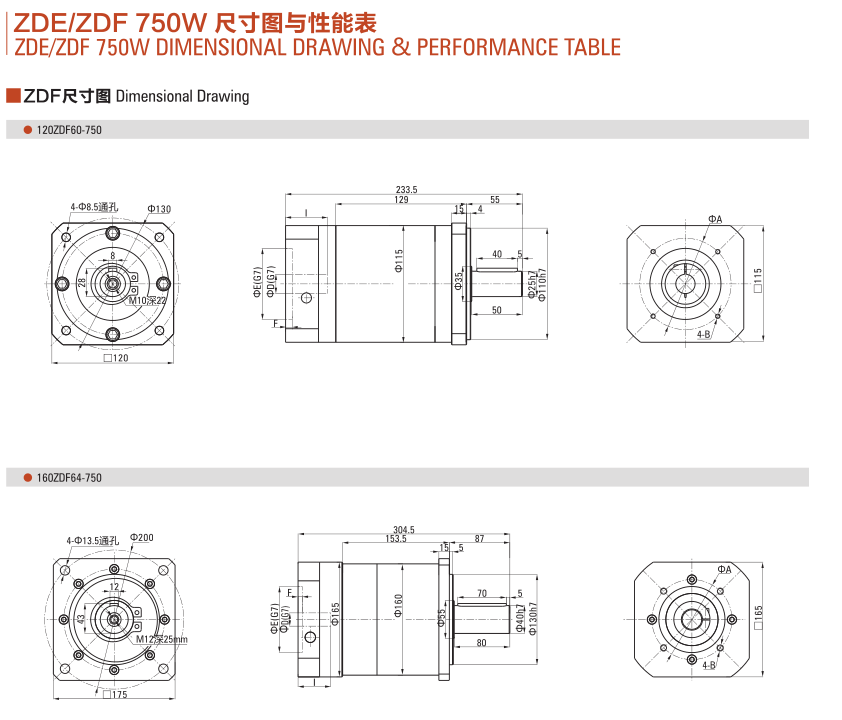 ZDE(F)系列减速机750W尺寸