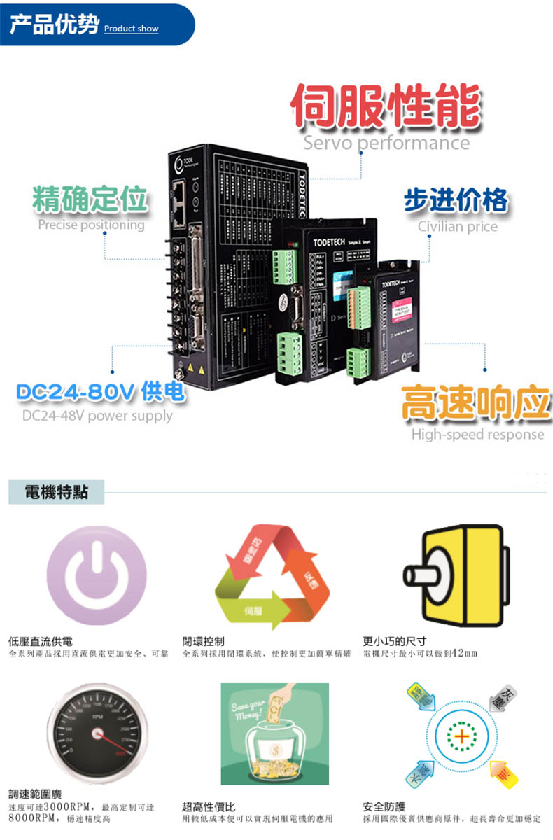 低压直流伺服电机产品优势与特点