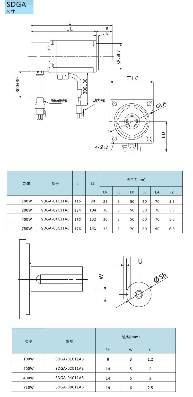 低压直流伺服电机尺寸图
